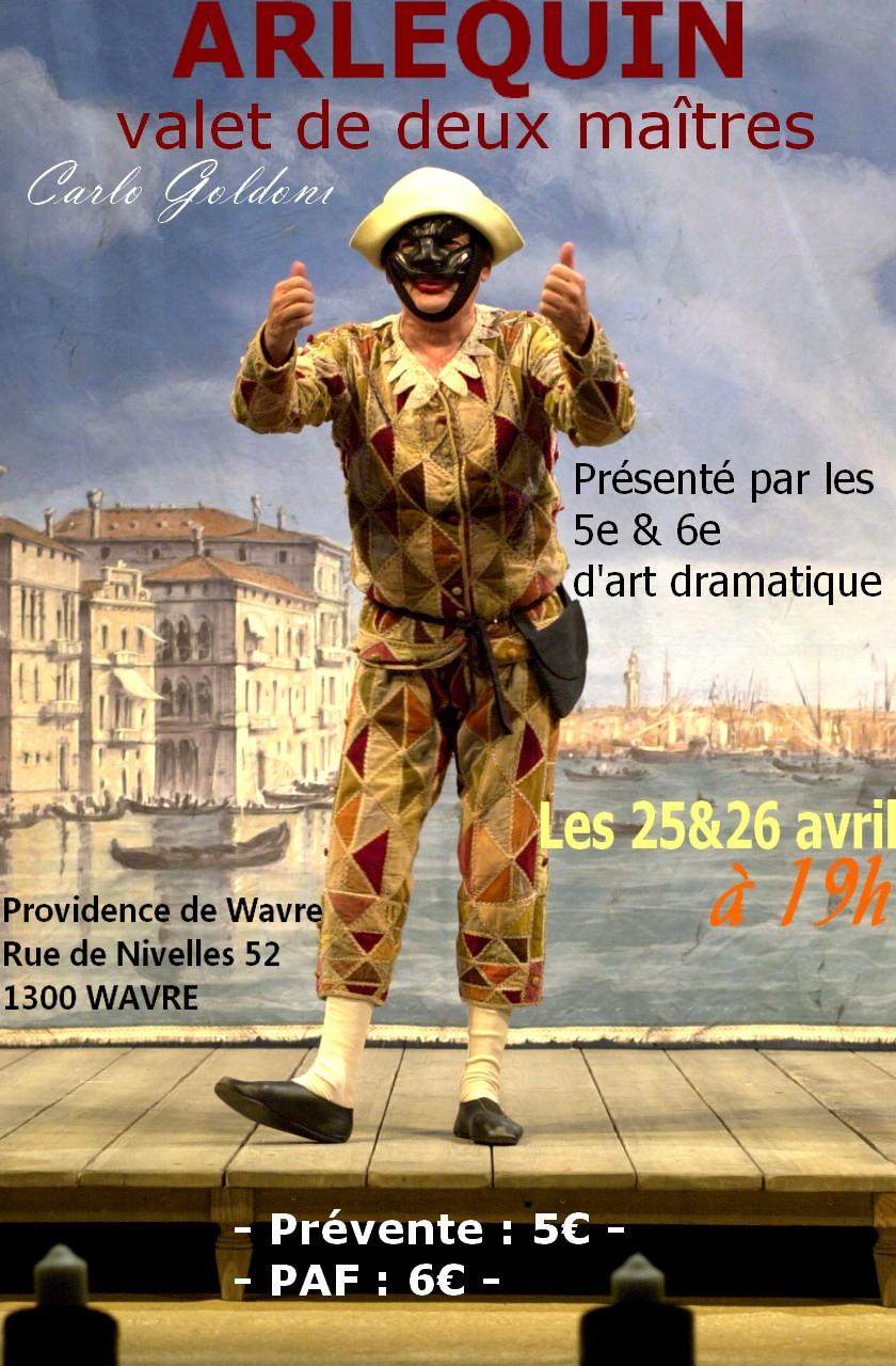 """Affiche de la pièce des rhétos 2013 - """"Arlequin valet de deux maîtres"""""""