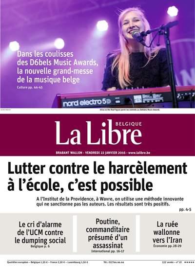 La Libre Belgique - Une du 22/01/2016